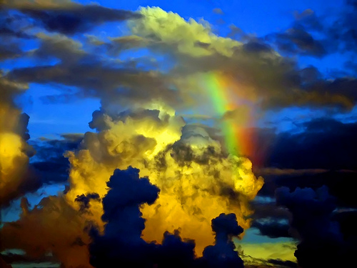 clouds rainbow in sky