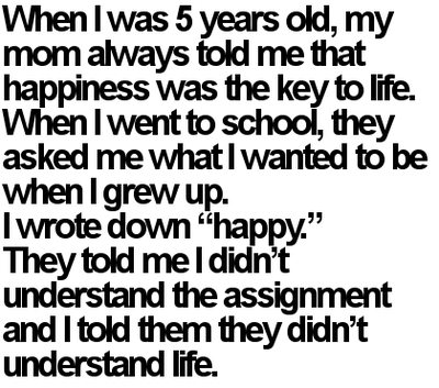 when i was 5 key to life happiness