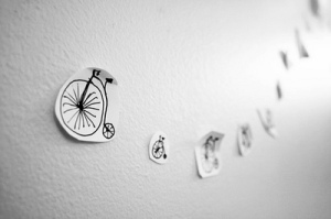 paper bikes on wall