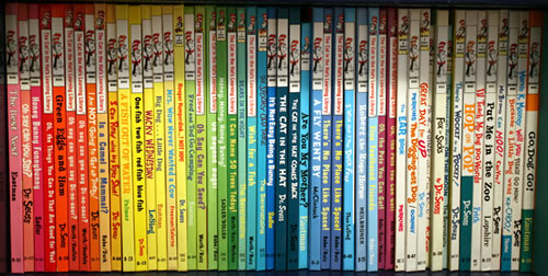 dr suess books chromatically arranged