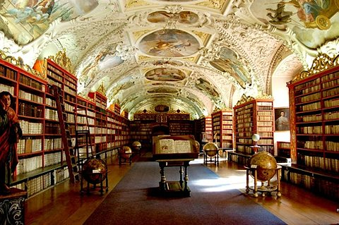 library with great ceiling paintings