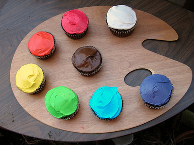 cupcakes, artist palette